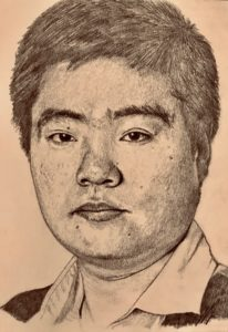Ding Junhui Pencil Drawing A5 £100 4/9 see Projects Page, World Snooker Championship 2019