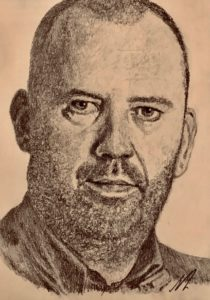 Mark Williams Pencil Drawing A5 £100 3/9 see Projects Page, World Snooker Championship 2019