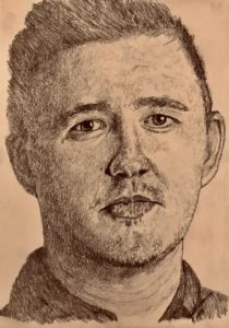 Kyren Wilson Pencil Drawing A5 £100 8/9 see Projects Page, World Snooker Championship 2019
