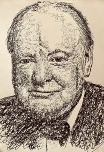 Winston Churchill Biro Drawing A5 £30