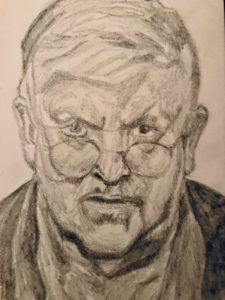 David Hockney Pencil Drawing after Lucian Freud A5 £50